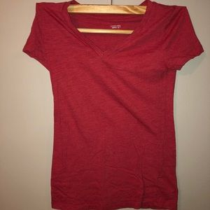 Red V-Neck Short Sleeve Tee
